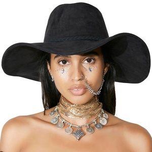 Aura Wide Brim Hat Black Suede